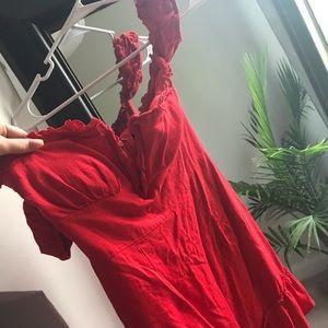 Red Off the Shoulder Summer Dress w/Deep V neck